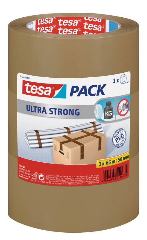 tesapack Ultra Strong Heavy-Duty PVC Packaging Tape Buff 50mmx66m 57177 - SINGLE ROLL