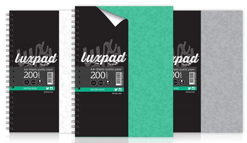 Silvine Luxpad Twinwire A4 Stiff Covered Notebook Assorted (Pack 3)