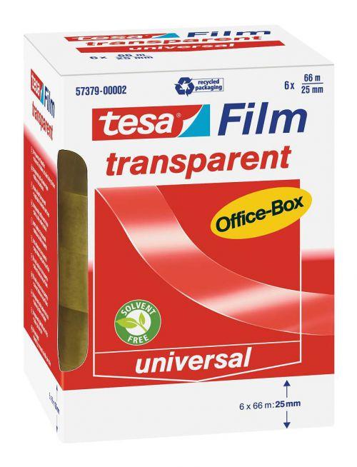 tesafilm Transparent Tape 25mm x 66m Officebox - 6 rolls PK1