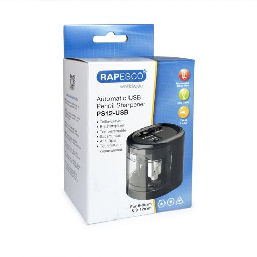 Rapesco PS12-USB Automatic USB/Battery Pencil Sharpener Black
