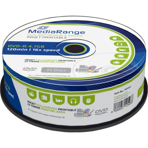 MediaRange (4.7GB) 120 Minute 16x DVD-R (Cakebox of 25) with Printable Label