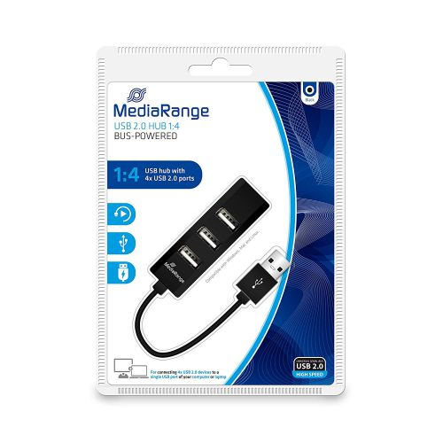 MediaRange 4-Port USB 2.0 Hub (Black)