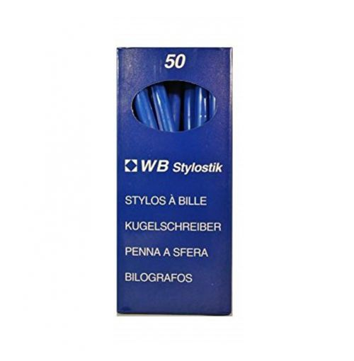 ValueX White Box Ballpoint Pen 1.0mm Tip 0.7mm Line Blue (Pack 50)