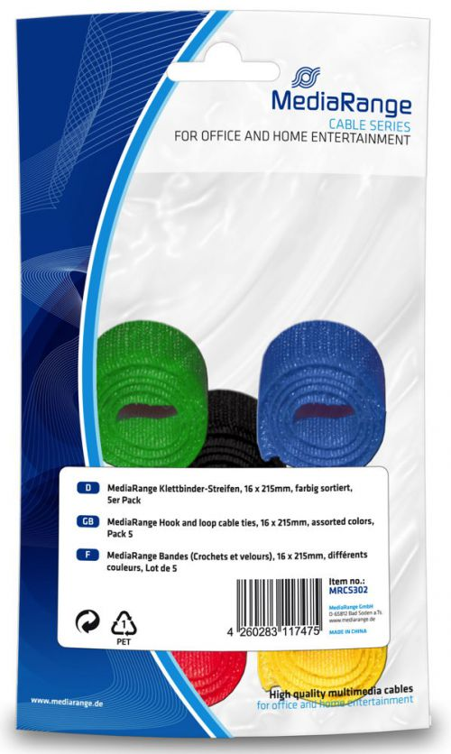 MediaRange (16 x 215mm) Hook-and-Loop Cable Ties (Assorted Colours)