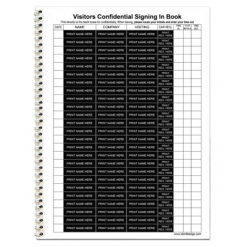 Identibadge GDPR Compliant Line Entry Visitor Book Refill