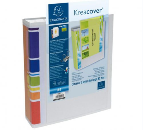 Exacompta Kreacover Lever Arch File A4 80mm Spine White (Pack 10)