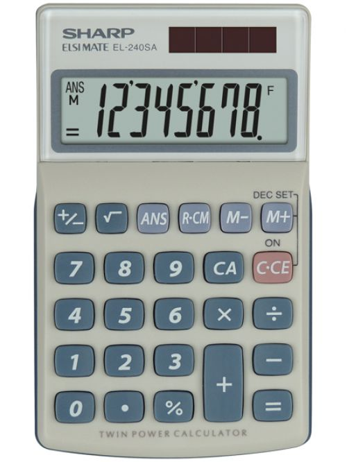 Sharp EL240SAB Handheld Calculator 8 Digit Angled Display