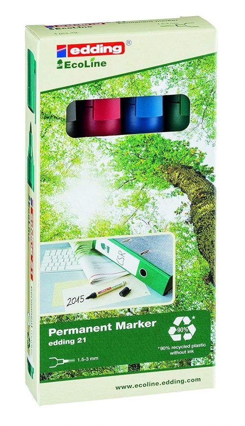 Edding 21 EcoLine Permanent Marker Bullet Tip 1.5-3mm Line Assorted Colours (Pack 4)