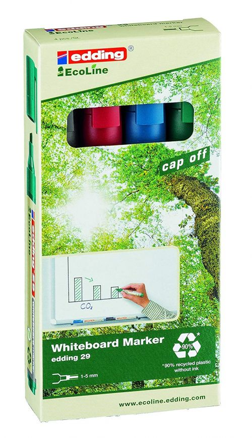 edding 29 EcoLine Whiteboard Marker Chisel Tip 1-5mm Line Assorted Colours (Pack 4)