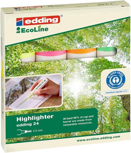 Edding 24 EcoLine Highlighter Assorted PK4