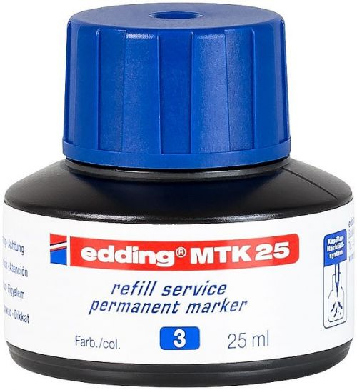 edding MTK 25 Bottled Refill Ink for Permanent Markers 25ml Blue