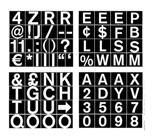 Bi-Office Magnetic Letters Numbers and Symbols 23mm White on Black CAR0702