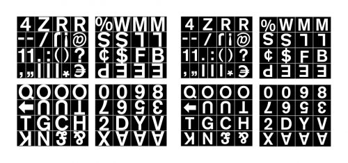 Bi-Office Magnetic Letters Numbers and Symbols 19mm White on Black CAR0802