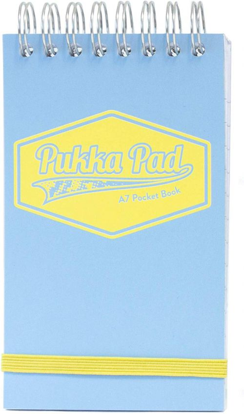 Pukka A7 Wirebound Card Cover Pocket Notebook Ruled 100 Pages Pastel Blue/Pink/Mint (Pack 6)