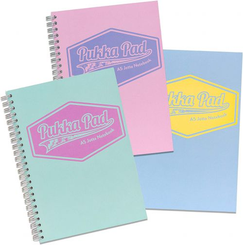 Pukka Pad Jotta A5 Wirebound Card Cover Notebook Ruled 200 Pages Pastel Blue/Pink/Mint (Pack 3)