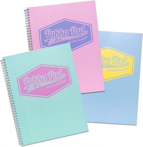 Pukka Pad Jotta A4 Wirebound Card Cover Notebook Ruled 200 Pages Pastel Blue/Pink/Mint (Pack 3)
