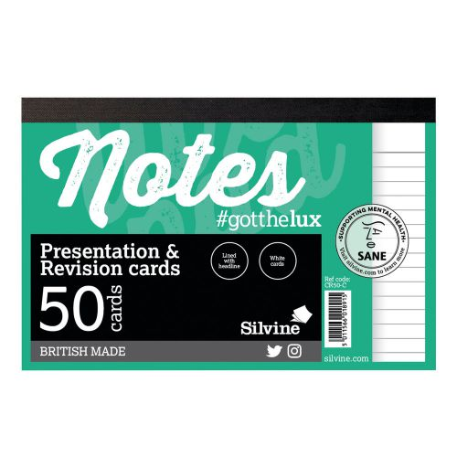 Silvine Revision Presentation And Note Cards White PK50