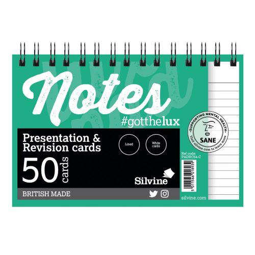 Silvine Revision Pres And Note Cards Twinwire White PK50