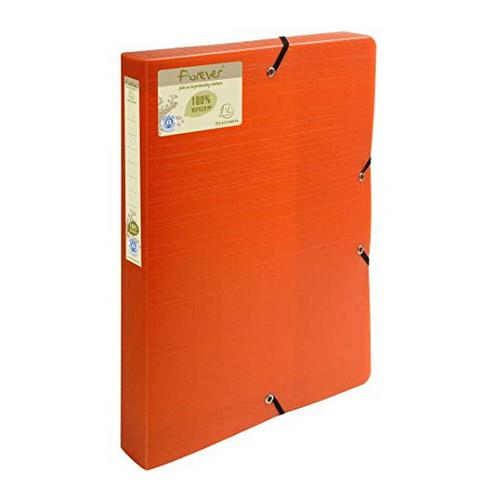 Forever Box File Elastic Closure A4 40mm PP Orange PK8