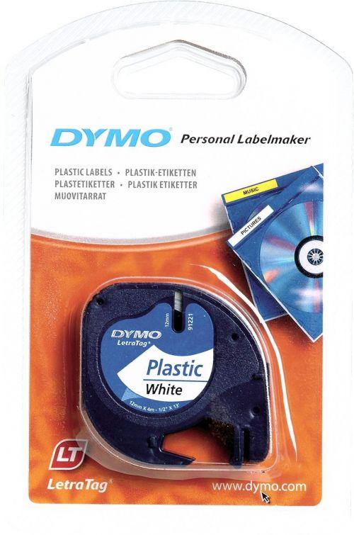 Dymo LetraTag Label Tape Plastic 12mmx4m Black on White