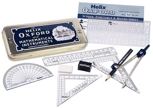 Helix Oxford Student Set Eraser Sharpener Blue Pen 6 inch ruler and 2 Pencils