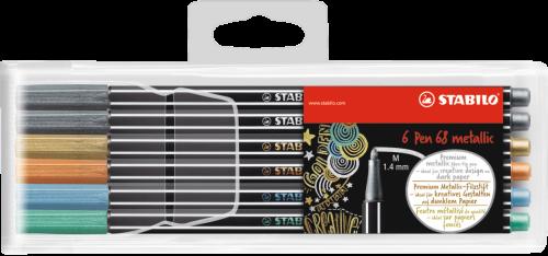 Stabilo Pen 68 Fibre Tip Pen 1.4mm Line Metallic Assorted Colours (Pack 6)