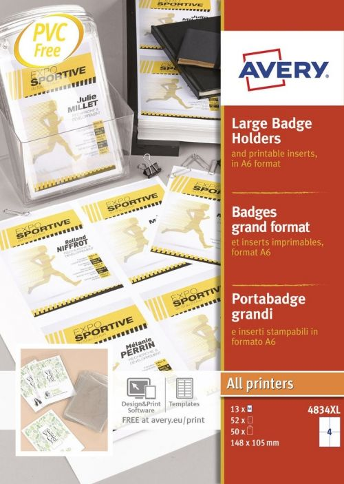 Avery A6 Badge Holders 52 Inserts 50 Holders