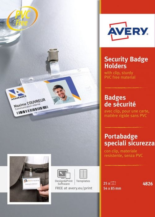 Avery Security Badge Holders with Clip 54x85mm PK25