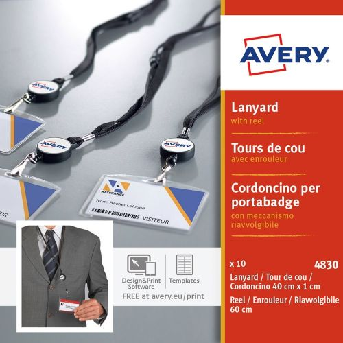 Avery Lanyard with Reel 400x10mm Lanyard 600mm Reel PK10
