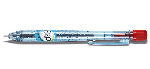 Pilot BeGreen B2P Retractable Ballpoint Pen Recycled 1mm Black Tip 0.32mm Line Red (Pack 10)