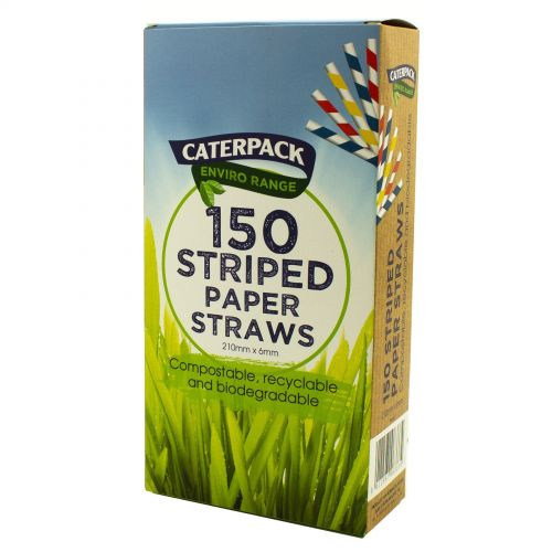 Enviro Paper straws Striped pk 150