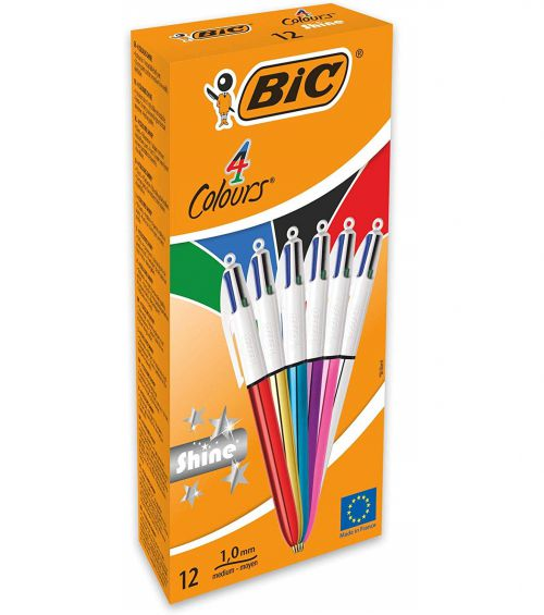 BIC 4 Colour Shine Assorted Body 1.0mm Point 0.4mm Nib PK12