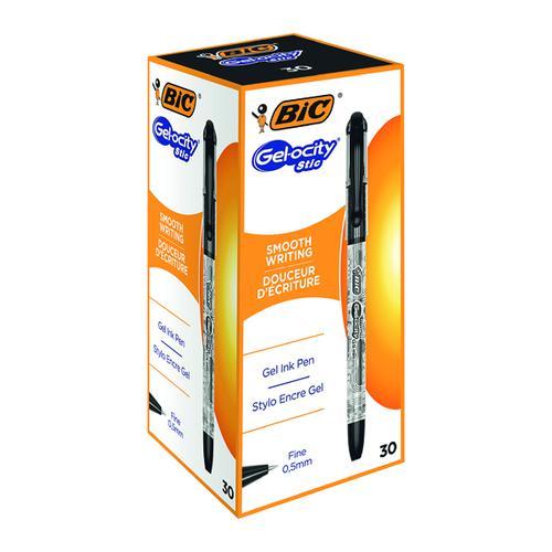 Bic Gel-ocity Stic Gel Rollerball Pen 0.5mm Line Black (Pack 30)