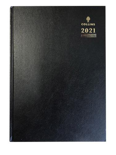 Collins A40 A4 Week to View Appointments 2021 Diary Black