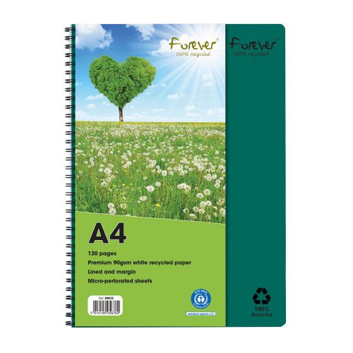 Forever A4 Wirebound Hard Cover Notebook Recycled Ruled 120 Pages Green (Pack 5)