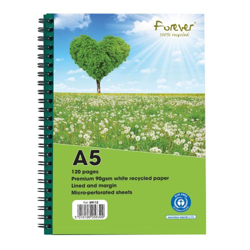 Forever A5 Wirebound Hard Cover Notebook Recycled Ruled 120 Pages Green (Pack 10)