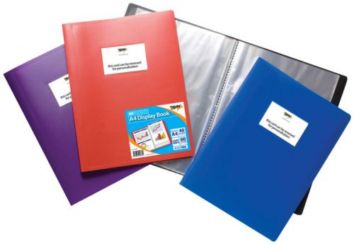 Tiger A4 Flexi Display Book 60 Pocket Assorted Colours