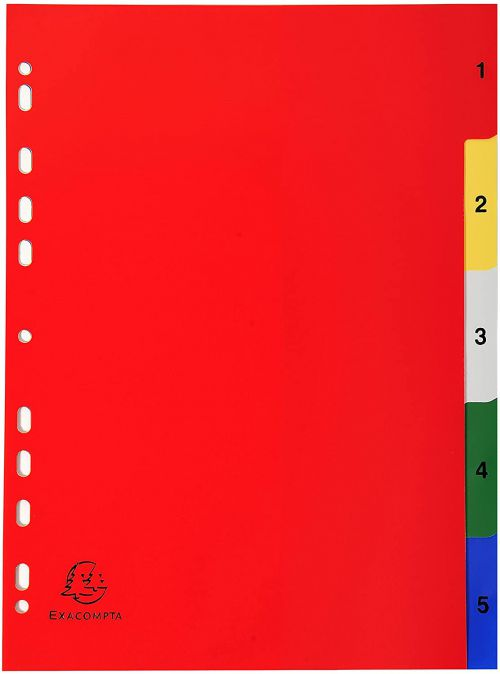Exacompta Polypropylene A4 Index 1-5 Colour Tabs