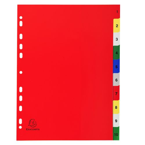 Exacompta Index 1-10 A4 120 Micron Polypropylene Bright Assorted Colours