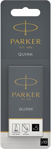 PARKER QUINK Long Fountain Pen Ink Cartridges Black PK10