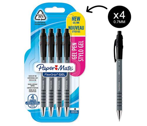 Paper Mate Flexgrip Gel Rollerball Pen 0.7mm Line Black (Pack 4)
