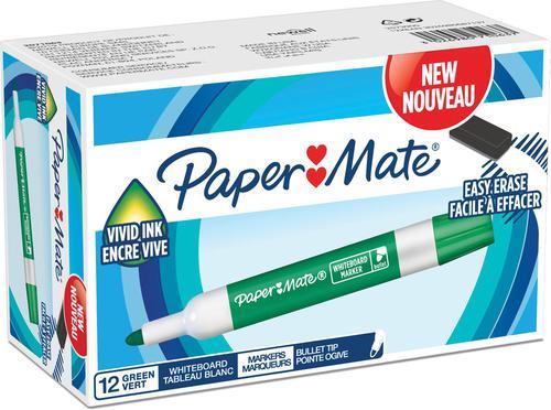Paper Mate Whiteboard Marker Bullet Tip Green PK12