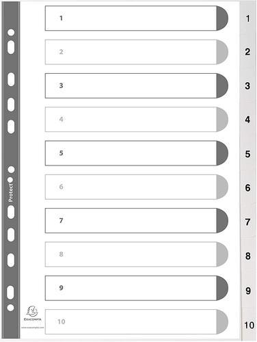 Exacompta Index 1-10 A4 PP White White Tabs
