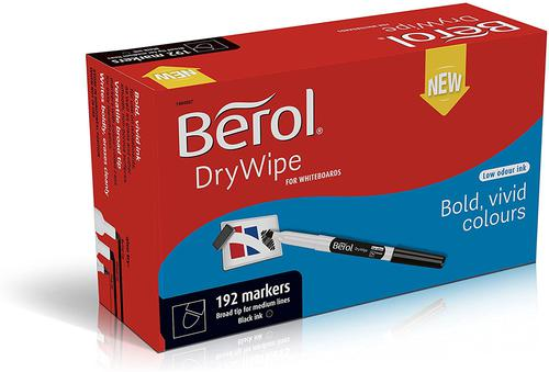 Berol Dry Wipe Marker Broad Black Pack of 200 3P
