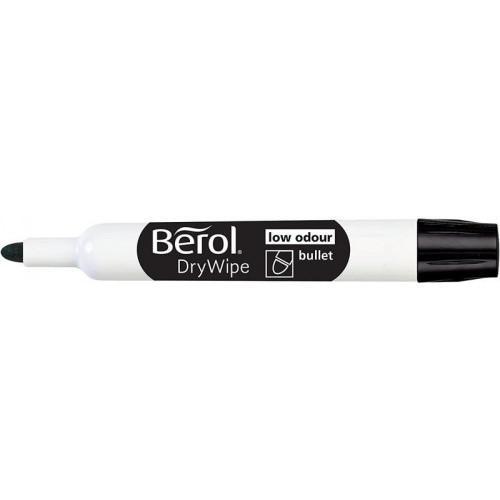 Berol Dry Wipe Whiteboard Marker Bullet Nib 2mm BK PK48