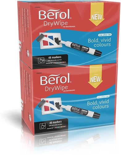 Berol Dry Wipe Marker Round Assorted Pack of 96 3P
