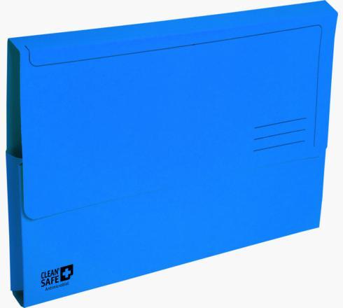 Exacompta CleanSafe Document Wallets Foolscap Blue PK5