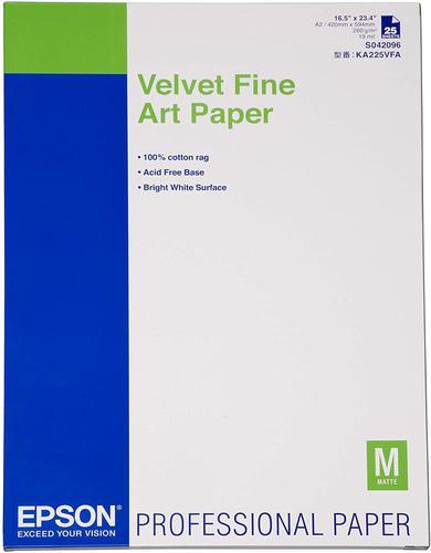 Epson (A2) Velvet Fine Art Paper 260gsm (1 x Pack of 25 Sheets) C13S042096