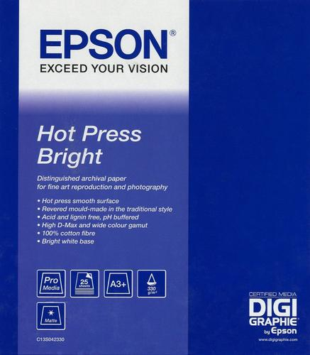 Epson Hot Press Bright A3+ Paper (25 Sheets) C13S042330