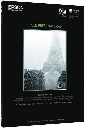 Epson Fine Art Cold Press Natural Paper Cotton Rag A3+ 340gsm (25 Sheets) C13S042300